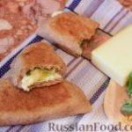 Цельнозерновая лепешка с сыром и зеленым луком